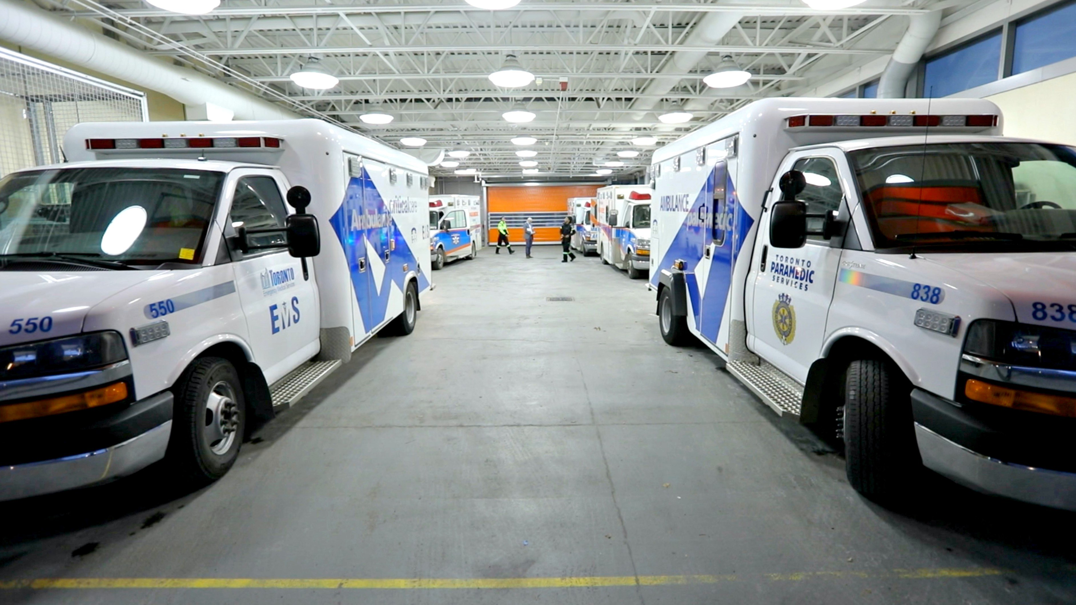 Paramedics are coming and going 24/7 through the ambulance bay. (Paul Borkwood/CBC News)