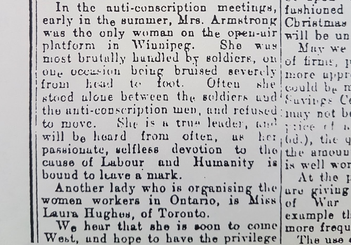 A clipping of an article by Gertrude Richardson about Helen Armstrong being roughed up as she stood between soldiers and men protesting conscription. (Helen Armstrong fonds/Archives of Manitoba)