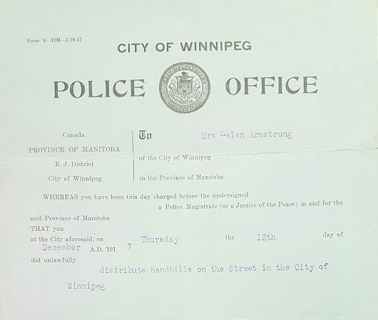 Armstrong was arrested in late 1917 for distributing handbills, one of the several times her name was typed onto a police report. (Helen Armstrong fonds/Archives of Manitoba)