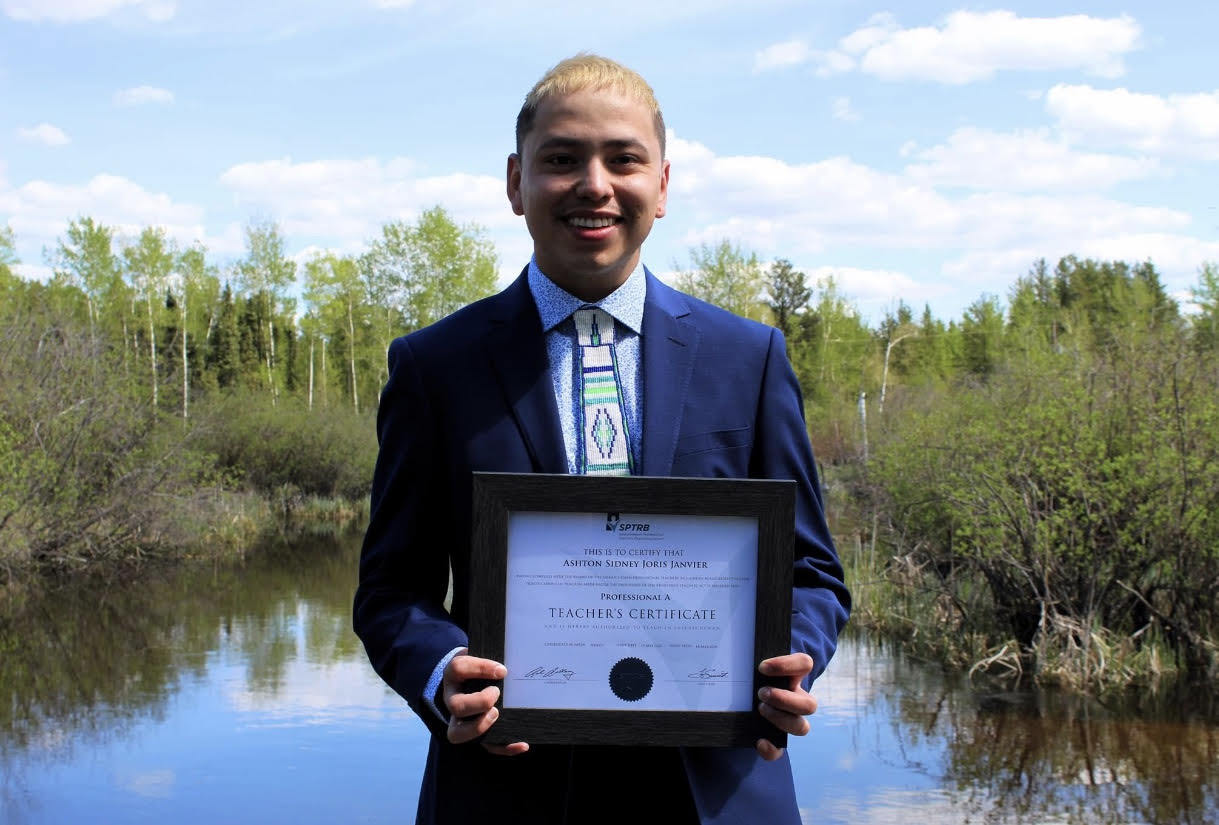 Ashton Janvier, 28, was an unemployed oilsands worker when he started the Dene teaching program. (Submitted by Ashton Janvier)