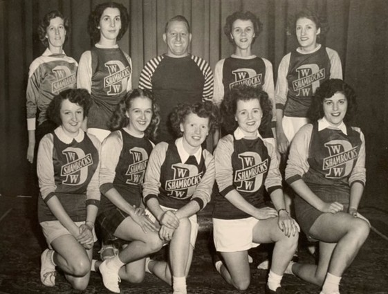 The Dominion Woollens Ladies Baseball Team. Daisy Nichols is first on the left in the bottom row. Submitted by Gail Hammond