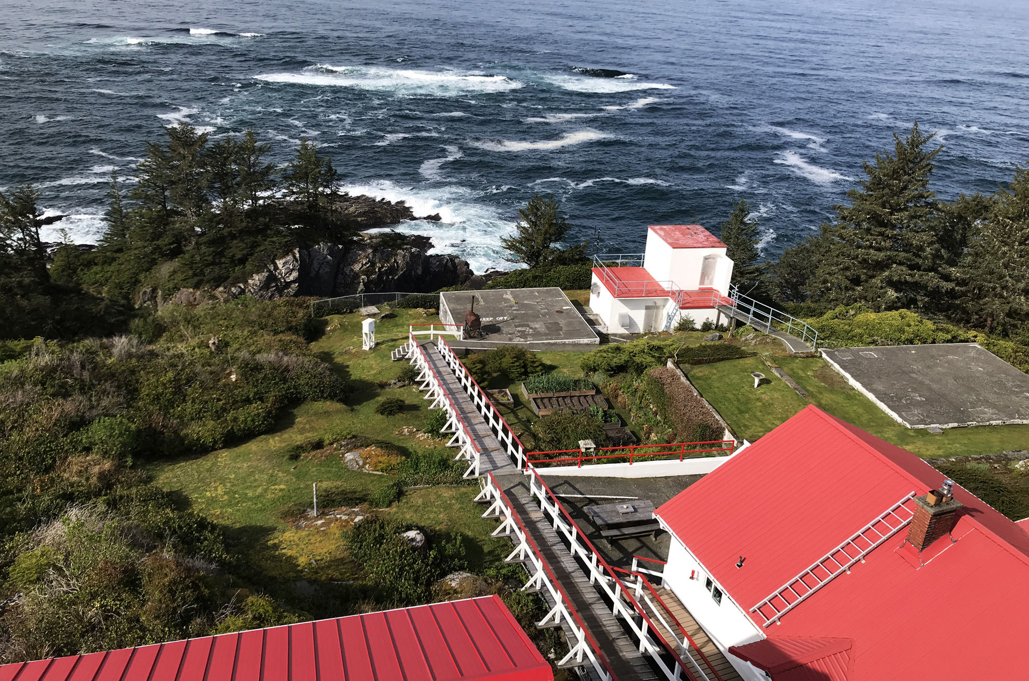 The view from 51 metres above sea level at the top of the tower of the Cape Beale Lighthouse. (Megan Thomas/CBC)