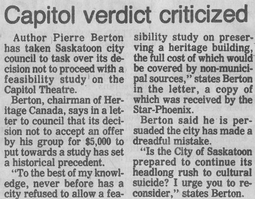 Many people wrote letters to the Saskatoon StarPhoenix, none more prominent than Canadian historian Pierre Berton. (Saskatoon Public Library Local History Room; copyright Saskatoon StarPhoenix)