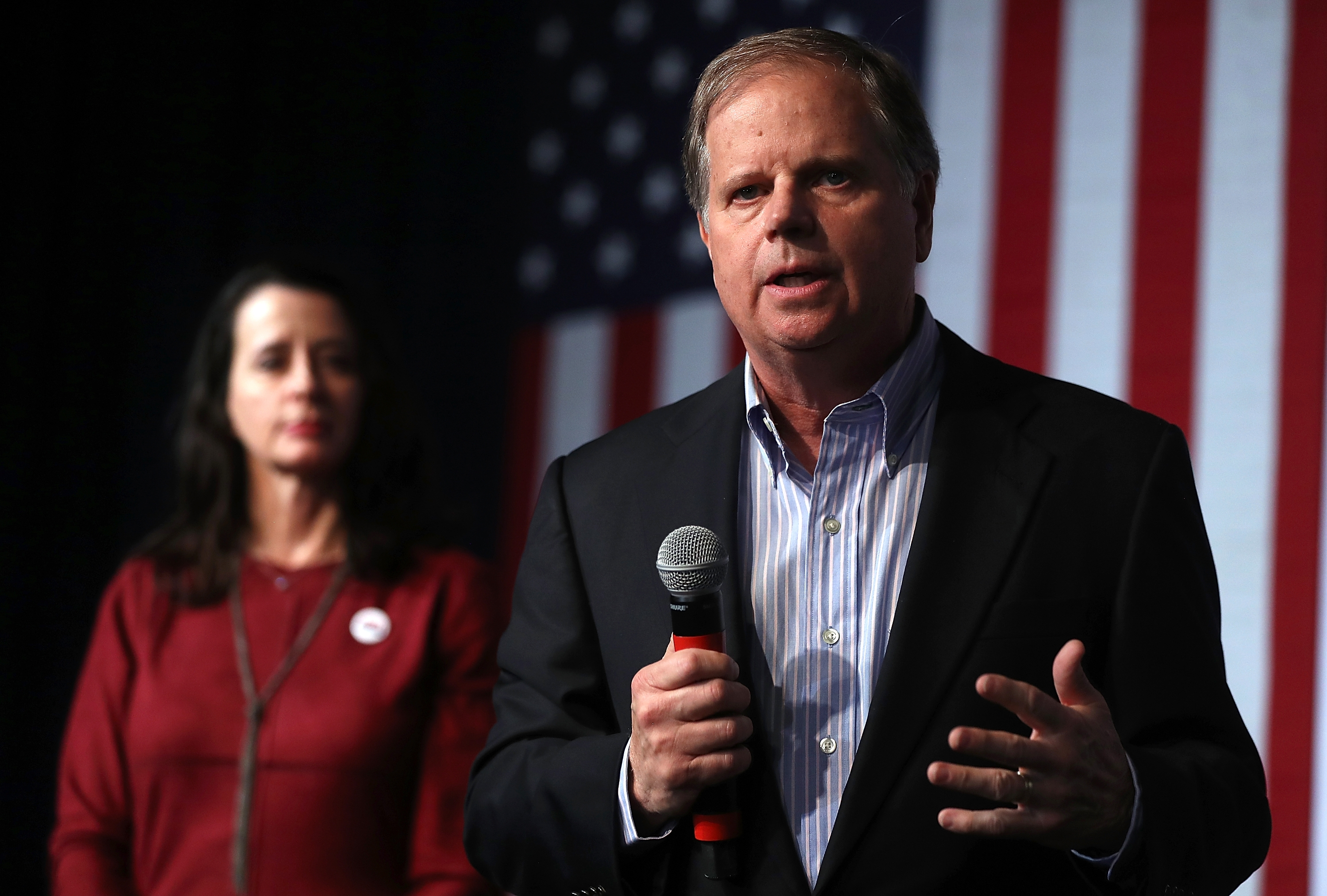 "While running for Alabama Senator in late 2017, Doug Jones adopted a ""common ground"" approach in order to appeal to Republican voters. (Justin Sullivan/Getty Images)"