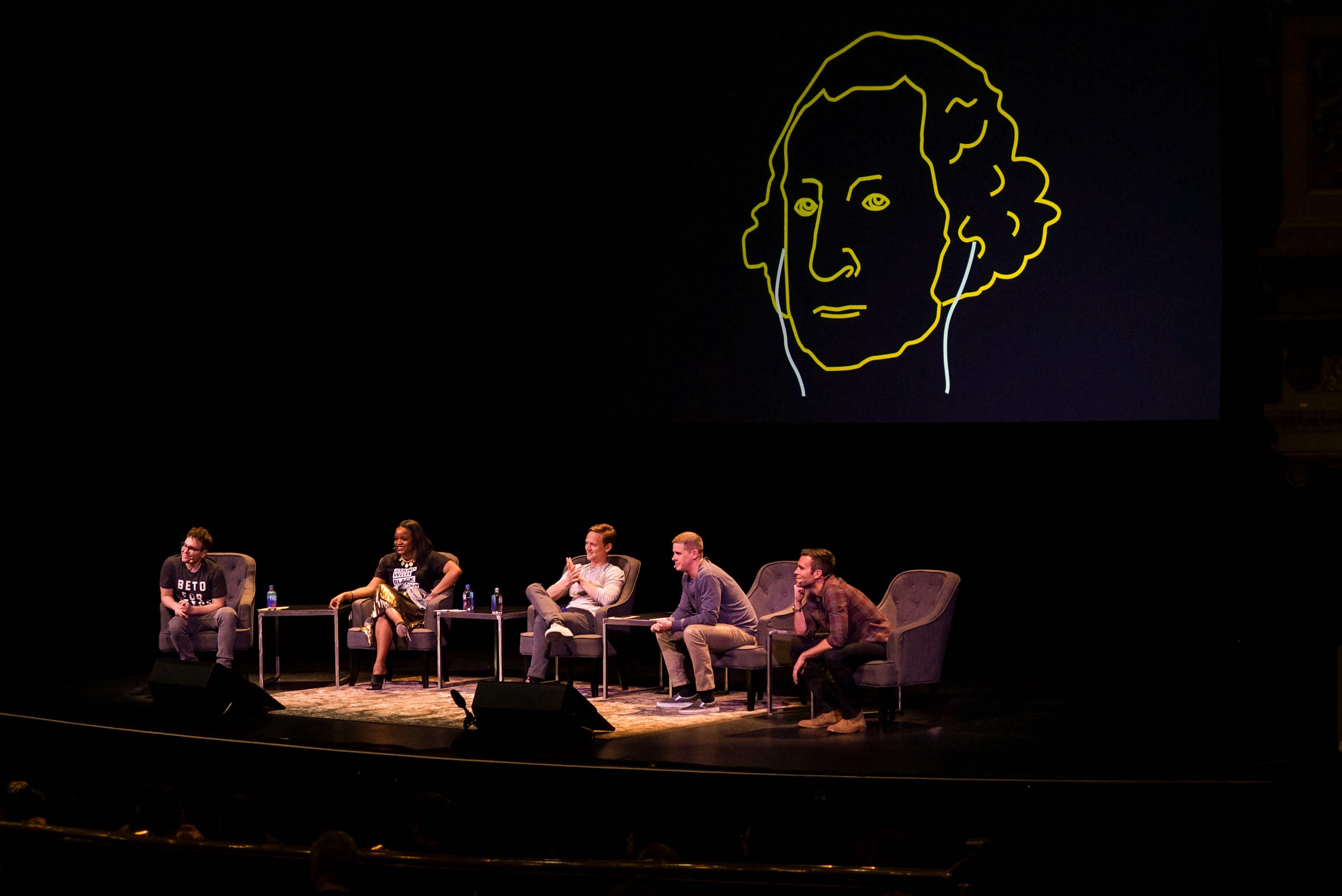 In March, the hosts of Pod Save America did a live broadcast in Dallas. (Jason Burles/CBC)