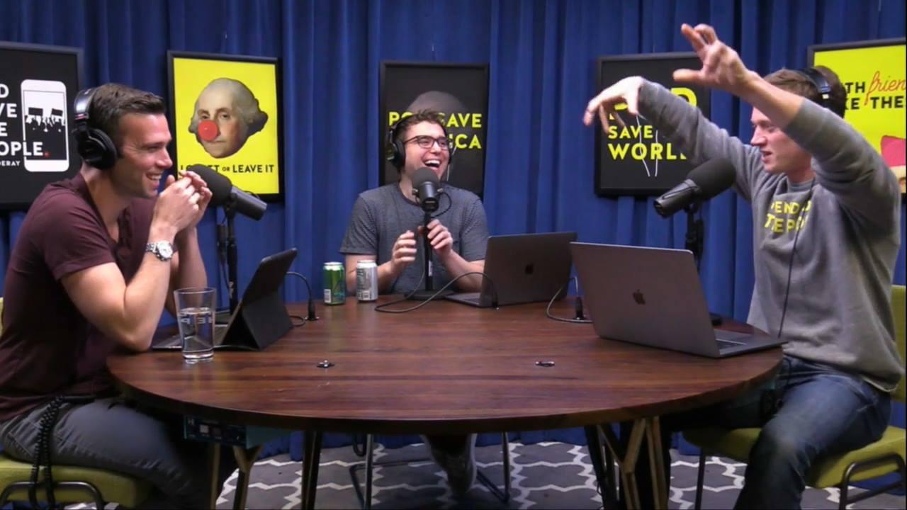 Jon Favreau, left, Jon Lovett, centre, and Tommy Vietor recording an episode of Pod Saves America. (Pod Save America)