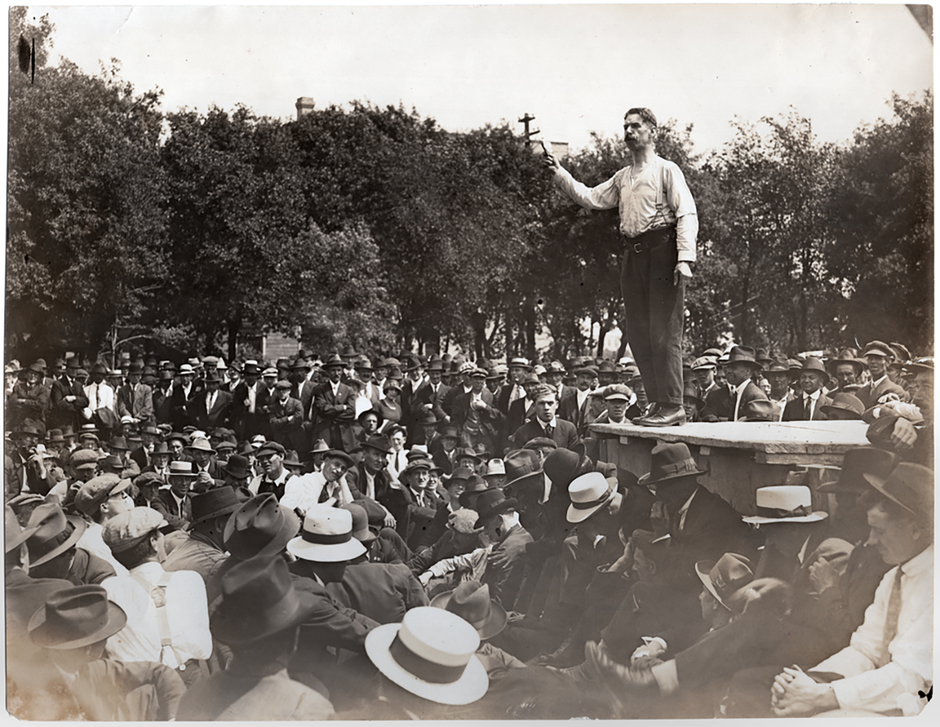 Roger E. Bray, a socialist who became a strike leader, speaks to a crowd at Victoria Park on June 13, 1919. (L.B. Foote collection/Archives of Manitoba)