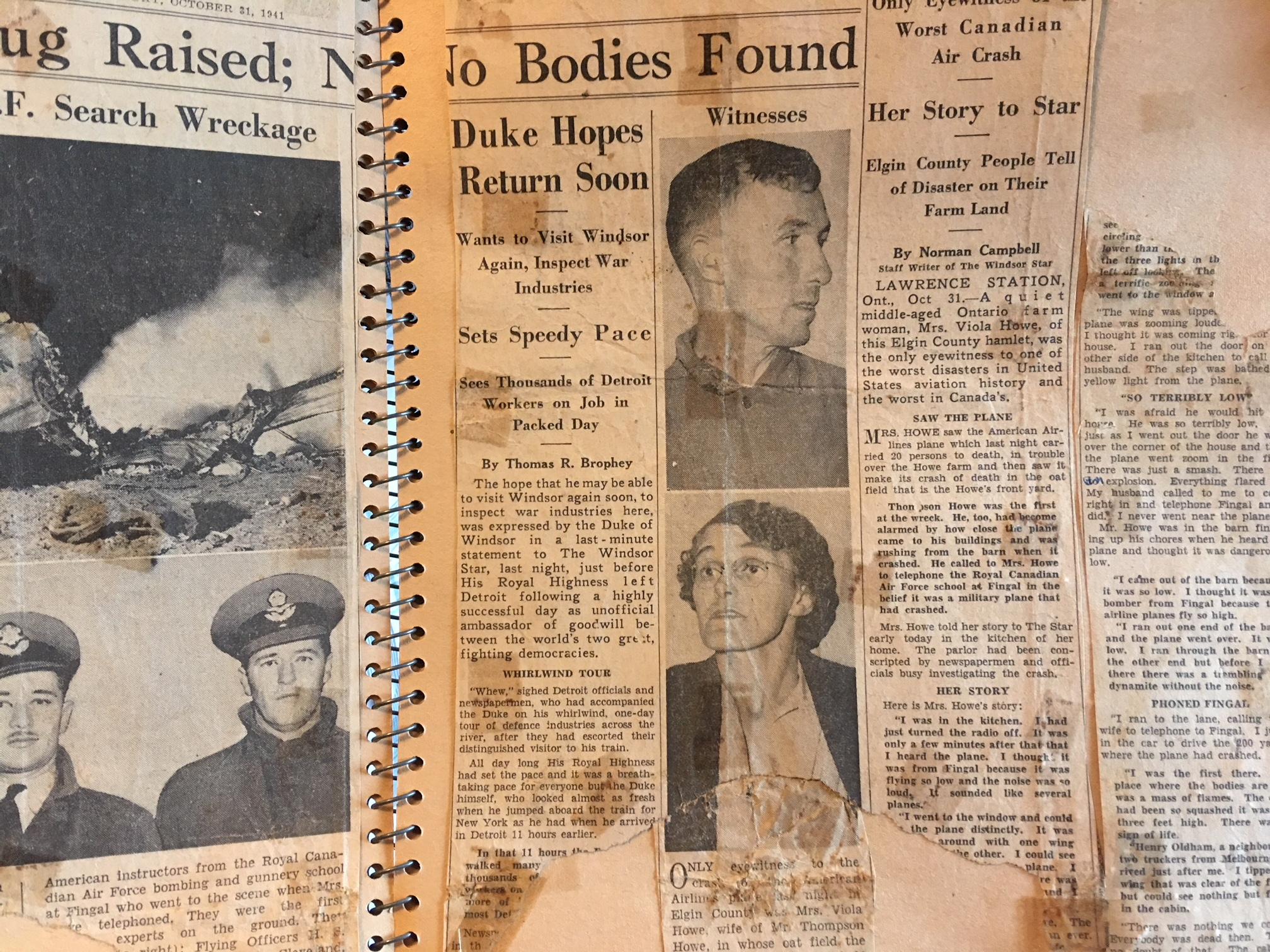 Viola Howe kept an extensive clippings file of newspaper coverage of the crash. She appears in the lower photo and her husband Thompson Howe is in the top photo. (Andrew Lupton/CBC)