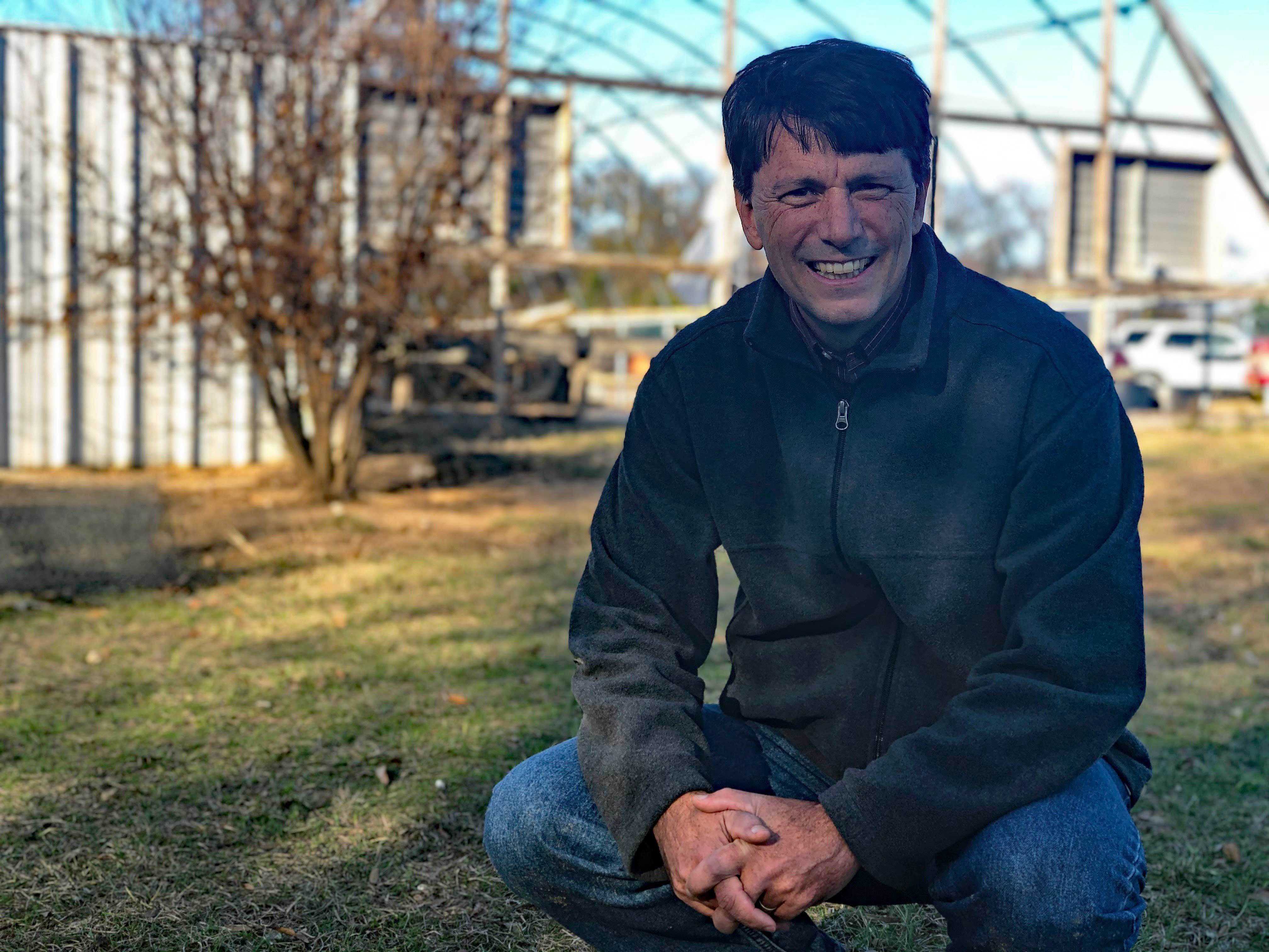 Cody Carnine on his family's pecan farm in Canton, Texas. (Angela MacIvor/CBC)