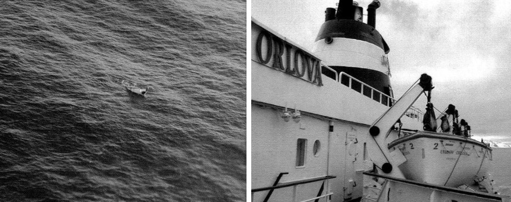 This aerial photo, left, of a damaged lifeboat could be the last vestige anybody will ever see of the Lyubov Orlova. The photo was sent around to Transport Canada staff on March 12, 2013. (Transport Canada)