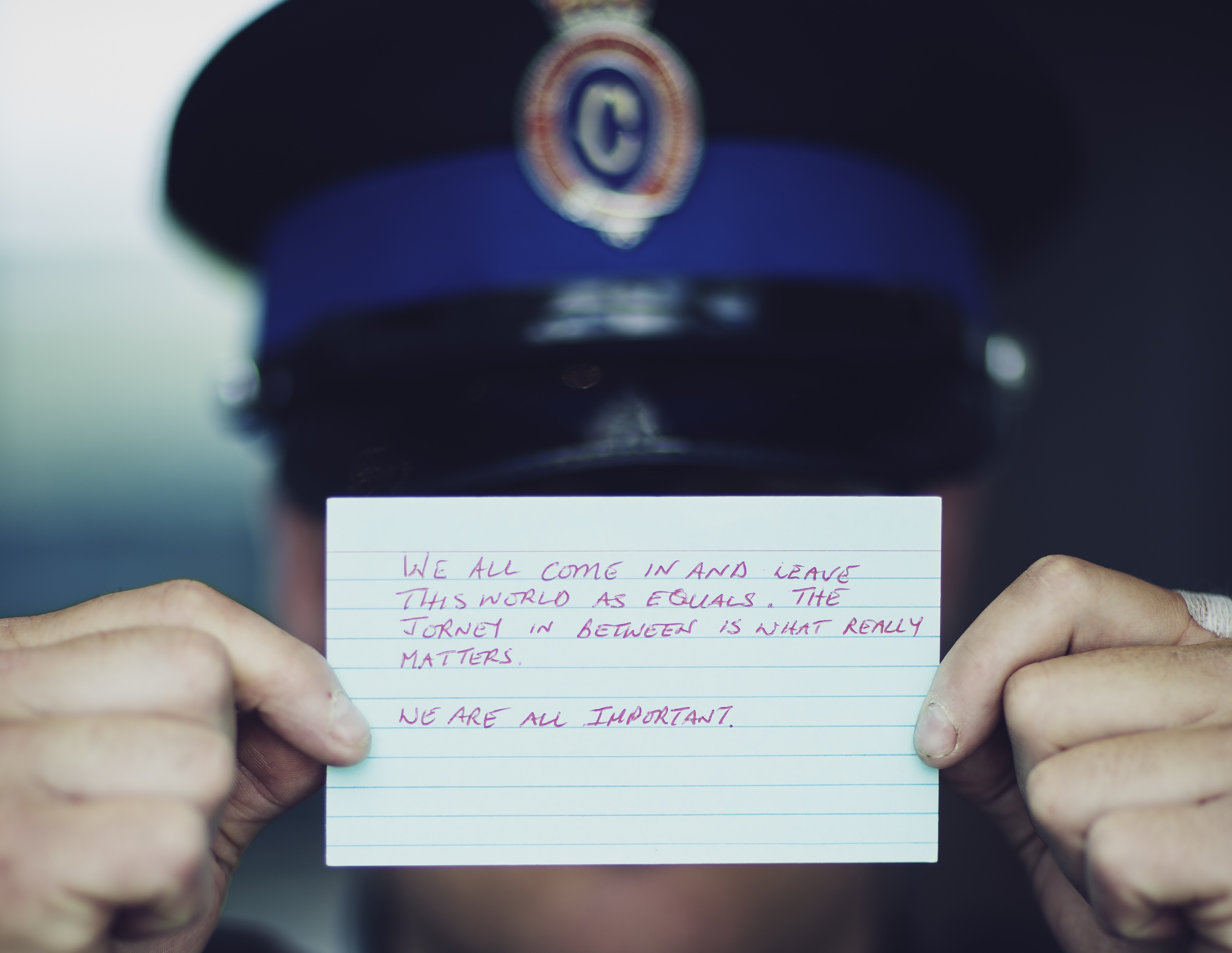 Frontline officers wrote hand-written messages to sex exploitation survivors. (Dave Howells)