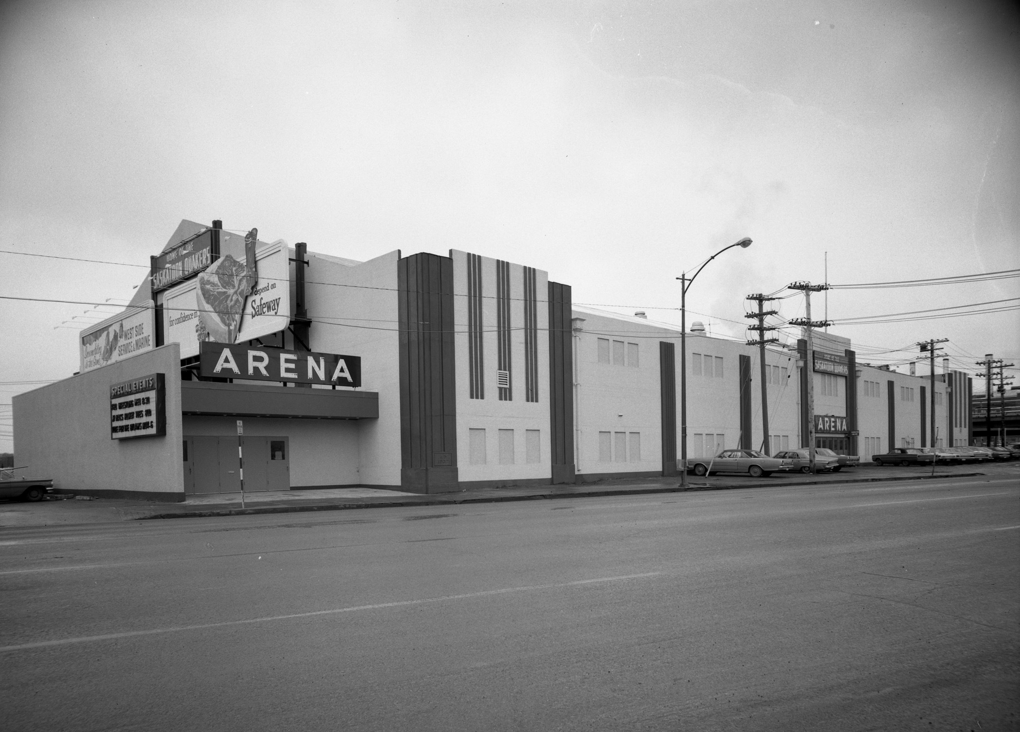 Saskatoon Arena, photographed in 1968, 20 years before its demolition. The arena was located at the corner of 19th Street and 1st Avenue. (Saskatoon Public Library Local History Room - Photo CP-5563)