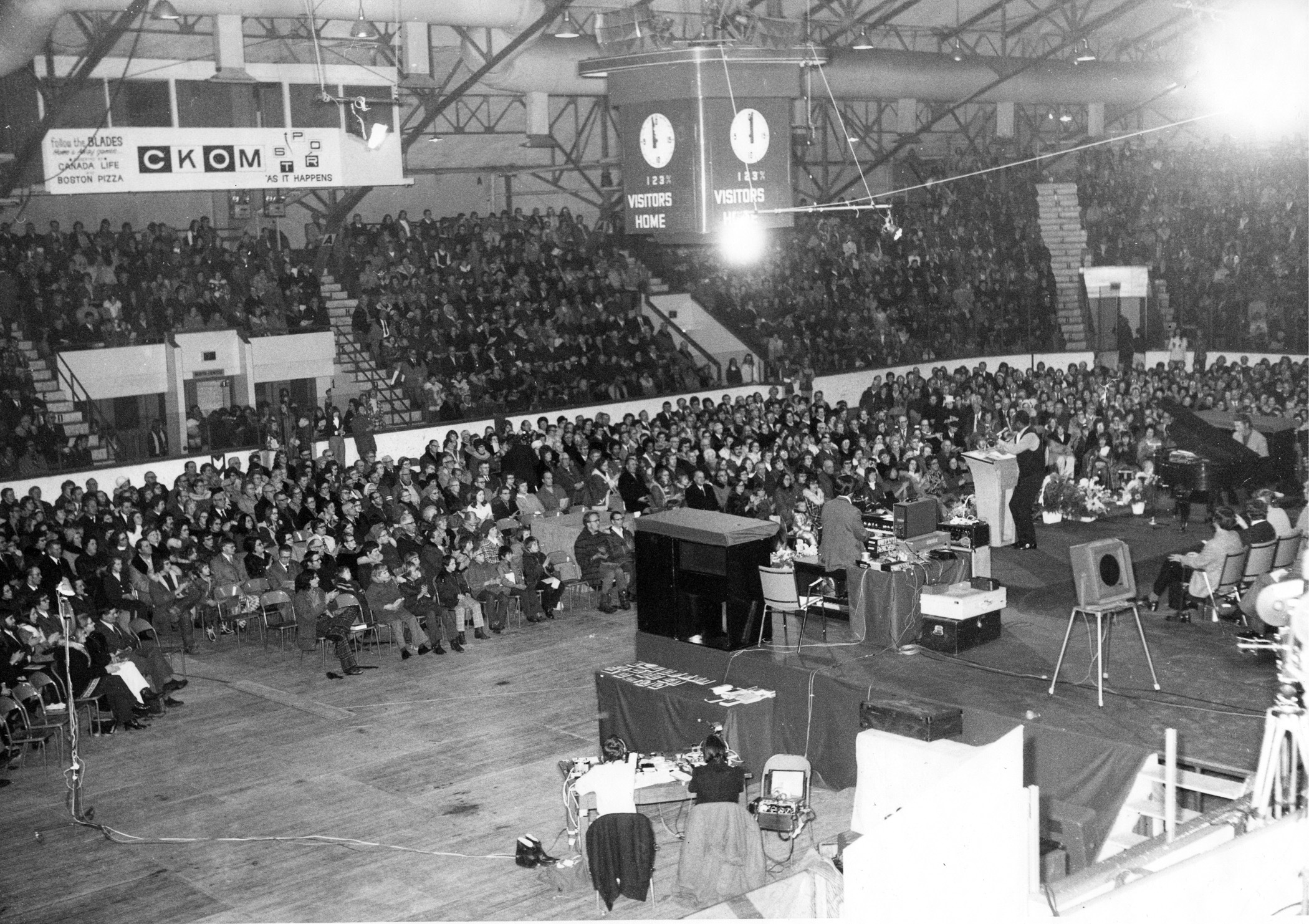 """""""Crusade of Christ"""" went the name of TV evangelist Terry Winter's visit to Saskatoon Arena in 1973. (Saskatoon Public Library Local History Room - Photo CP-6744-2)"""