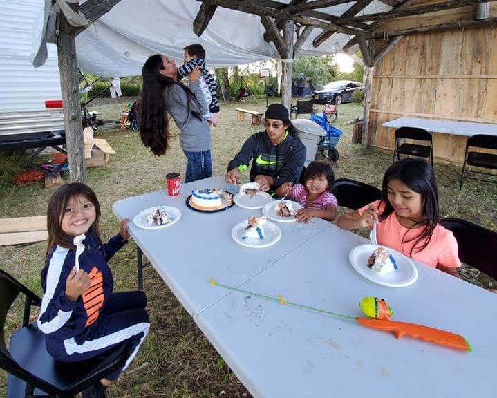 Jaclyn Hall and her family started the Kanien'kehá:ka Land Back Language Camp in September 2020 on land just west of Quebec's Salmon River. (Submitted by Jaclyn Hall)