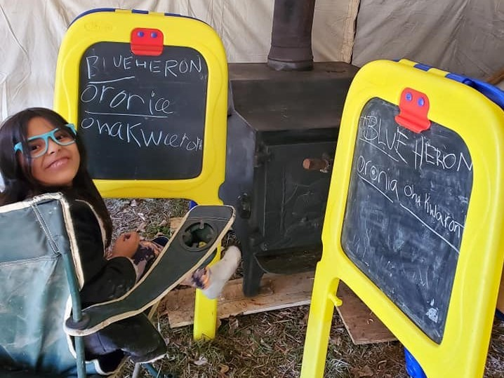 Jaclyn Hall spent the winter learning as much Kanien'kéha as she could to pass the knowledge onto her young children. With each activity they do at the camp, Kanien'kéha vocabulary is incorporated. (Submitted by Jaclyn Hall)