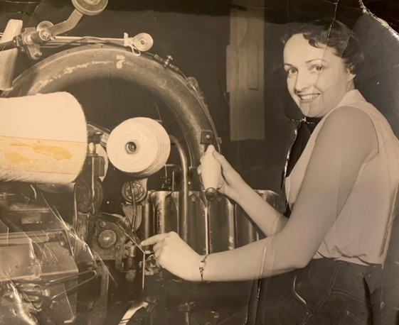 Daisy Nichols, operating Winding Machine #7 at the Dominion Woollens and Worsted Mill. Submitted by Gail Hammond