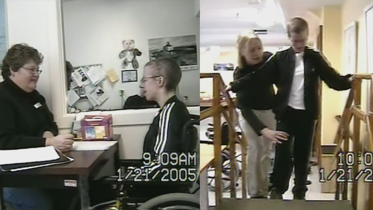 Debbie Maloney did a lot of speech therapy (left) and physiotherapy (right) in 2005, to learn how to talk and walk again. (Submitted)