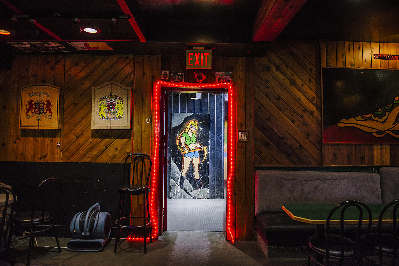 The door frame at the old location of Harley's. Murphy works with a talent agency based out of Calgary to hire strippers. (Credit: Angela Gzowski)