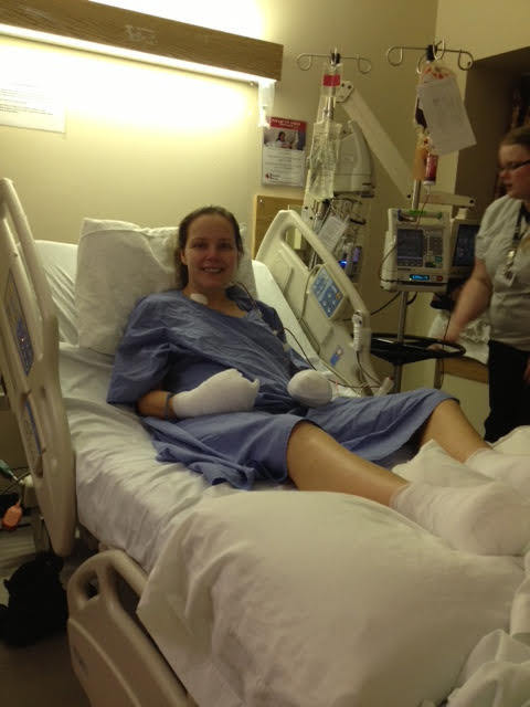 Elaine Dodge-Lynch in hospital after her amputations. (Submitted)
