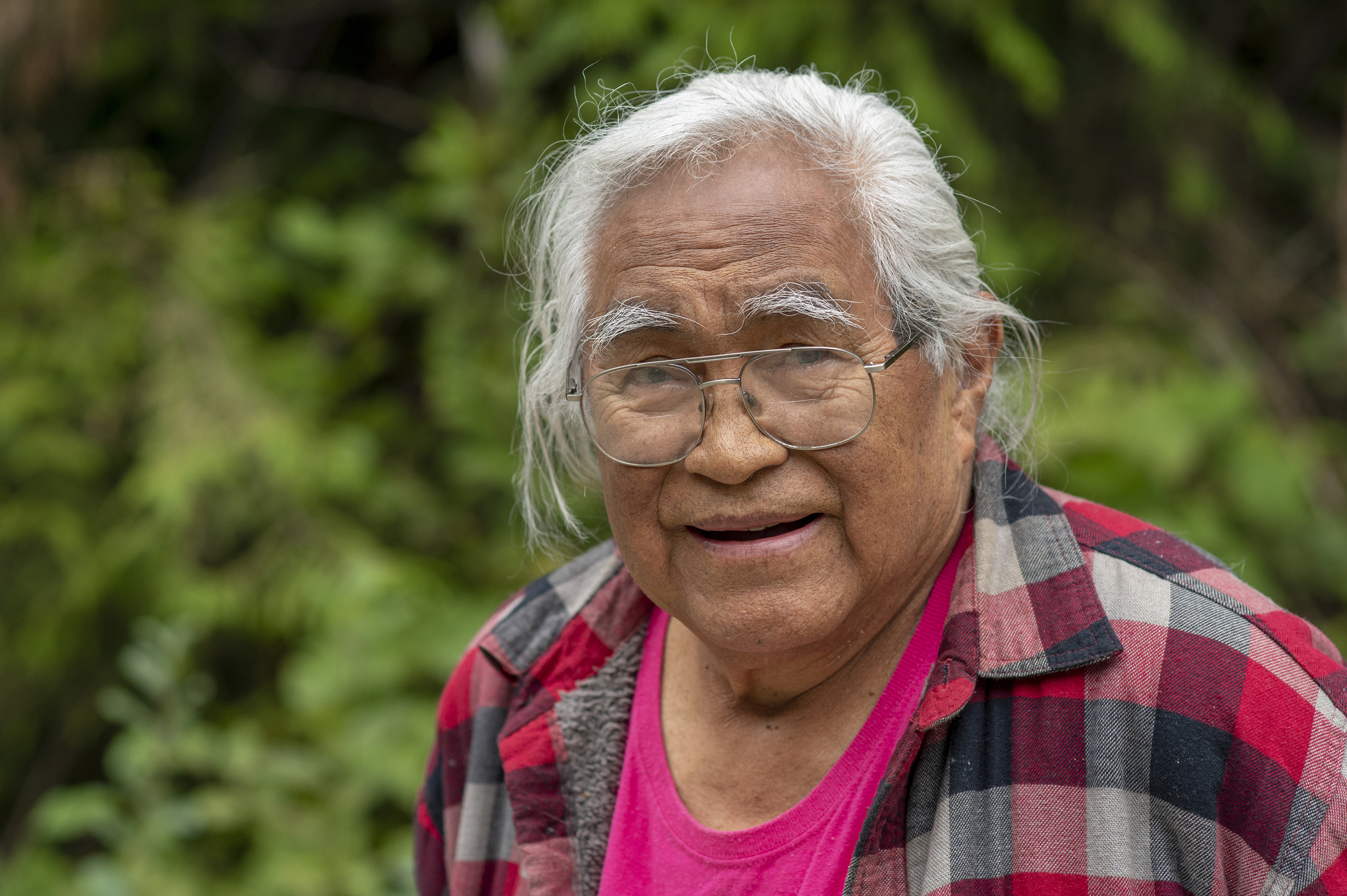 Bill Jones, an elder with the Pacheedaht First Nation, whose territory includes Fairy Creek, has become a figurehead of the protest movement and the symbolic leader of the Rainforest Flying Squad. (Kieran Oudshoorn/CBC)