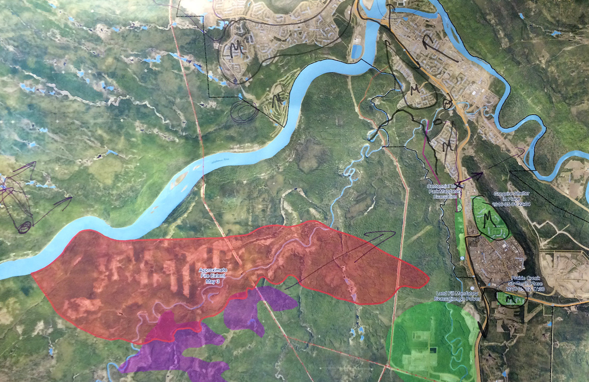 Darby Allen marked up this map of the areas affected by the wildfire on May 2. (Darby Allen)