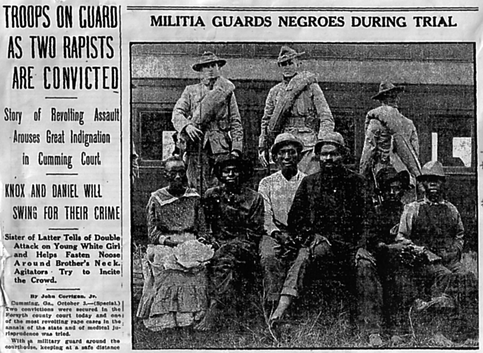A 1912 edition of the Atlanta Constitution reported on the hanging of two men accused of killing a white woman in Forsyth. The attached photo did not identify which men were the accused. (Atlanta Constitution)