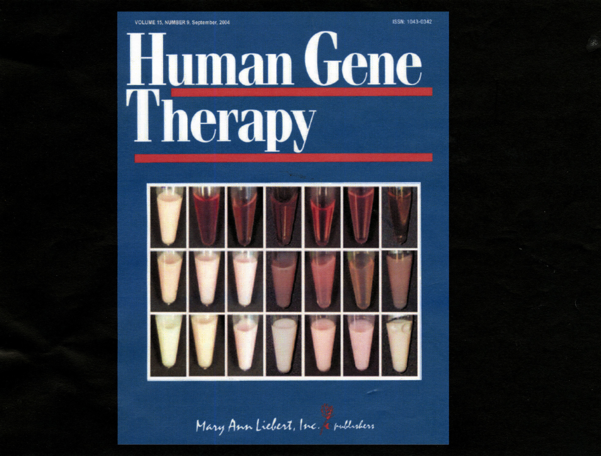 A look at the cover of the September 2004 edition of Human Gene Therapy showing the results of the test on mice in Vancouver. (Human Gene Therapy)