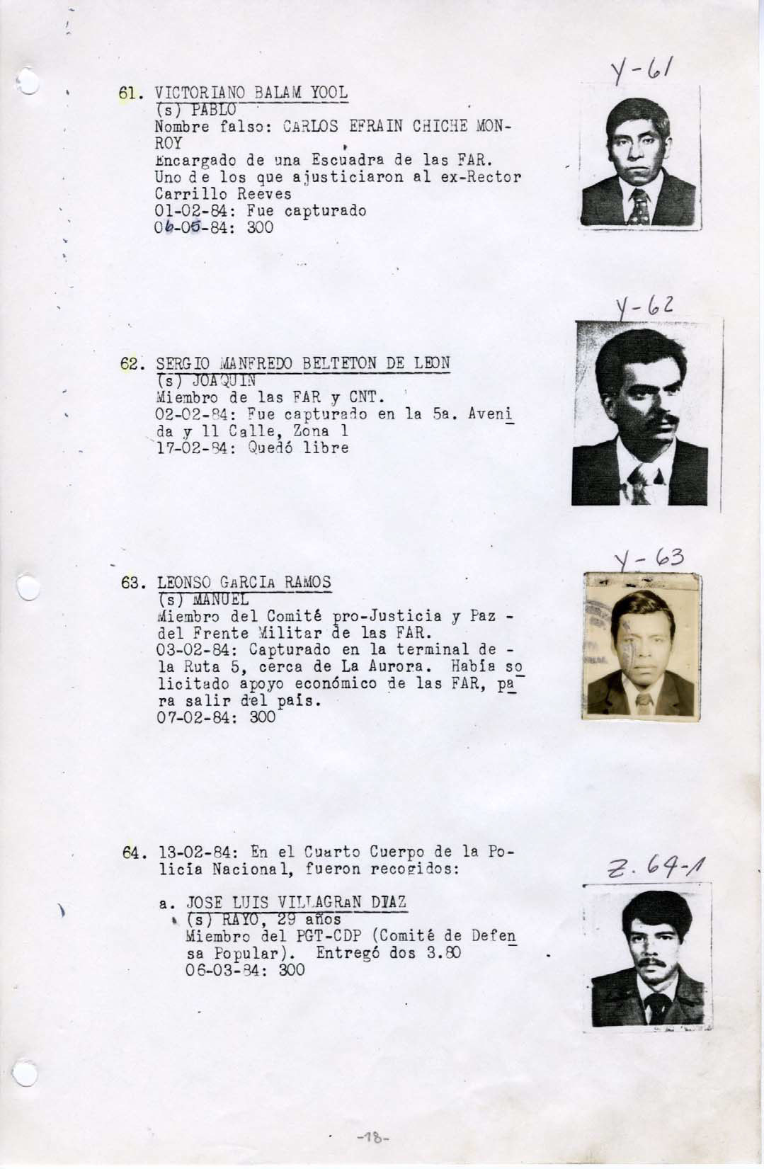 A sample page of the Military Diary obtained by human rights groups and the Washington, D.C.-based National Security Archive in 1999. The logbook details the activity of Guatemalan government death squads during an 18-month period from August 1983 to March 1985. (National Security Archive)