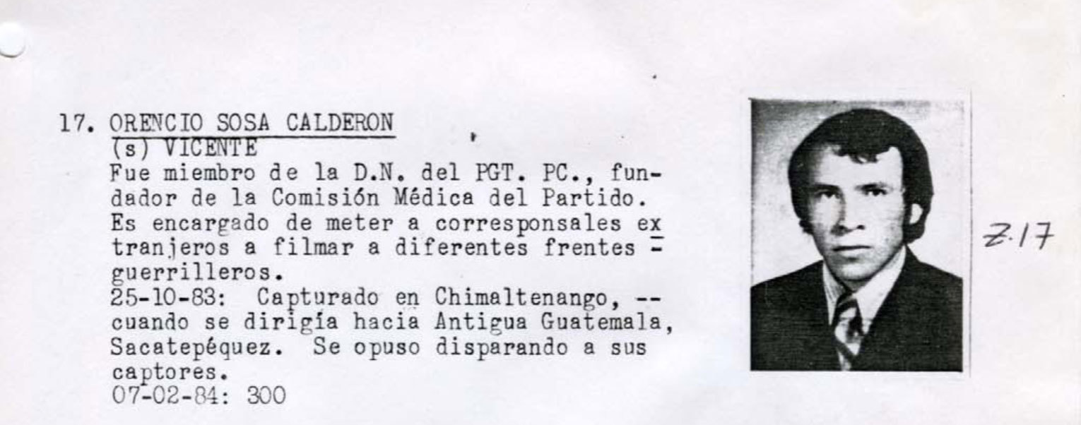 Orencio Sosa Calderon was a medical doctor working at a hospital in Chimaltenango, west of the capital, when he became the victim of a forced disappearance. The photograph on his entry in the Military Diary is that of an unknown man, although the notes on Calderon are accurate, according to his wife. (National Security Archive)