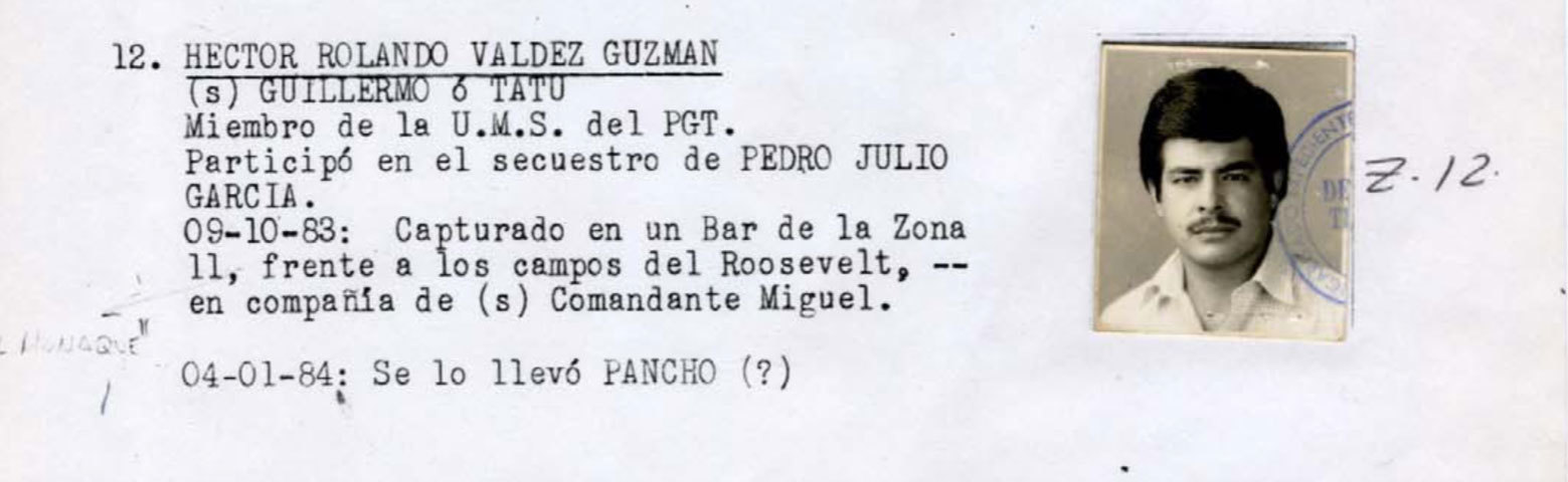 """Hector Rolando Valdez Guzmán disappeared on Oct. 9, 1983. The notation """"Se lo llevó Pancho"""" at the end of his entry in the Military Diary is believed to mean he was killed. (National Security Archive)"""
