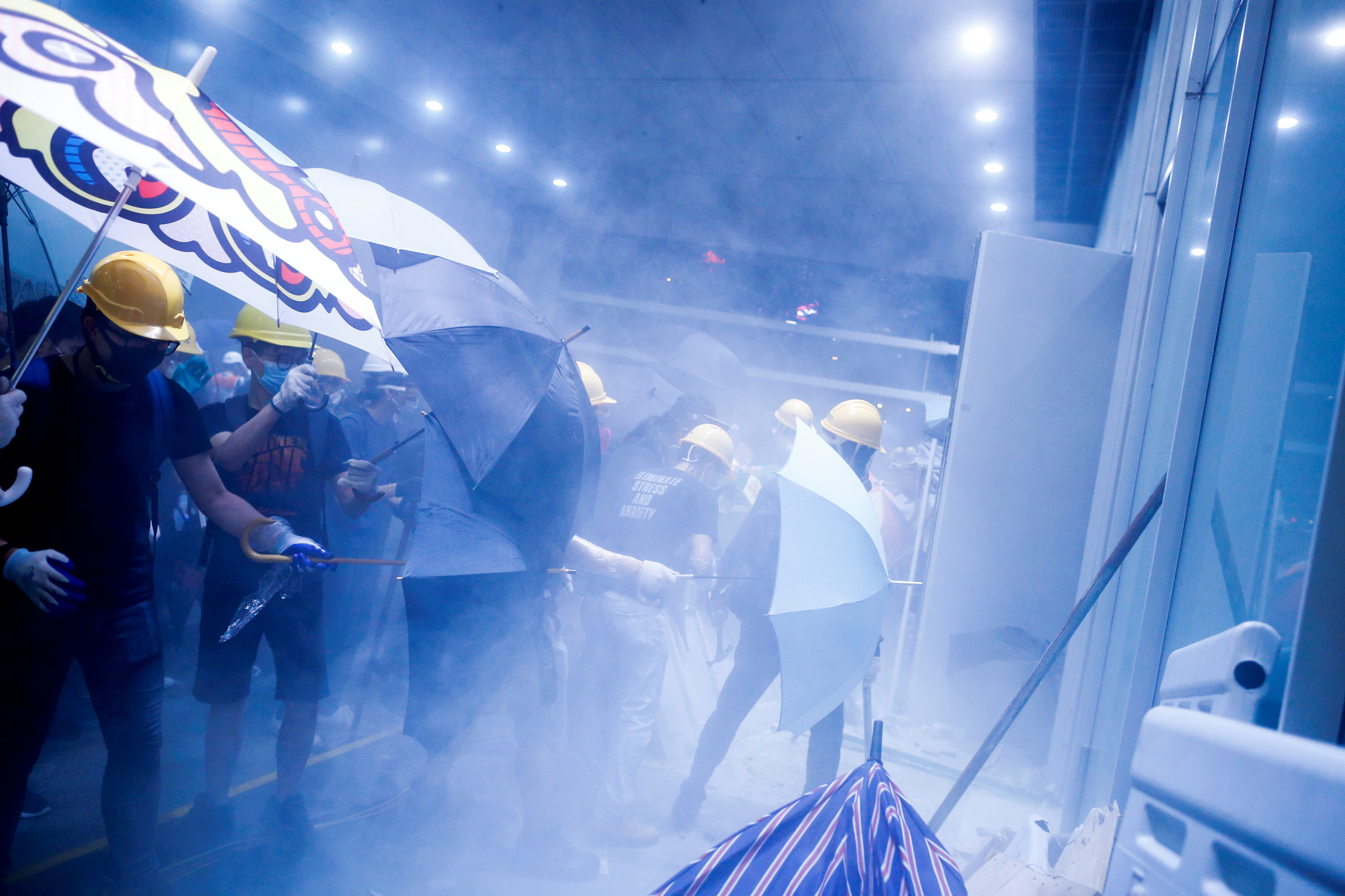 Protesters storm Hong Kong's Legislative Council building on July 1. (Thomas Peter/Reuters)
