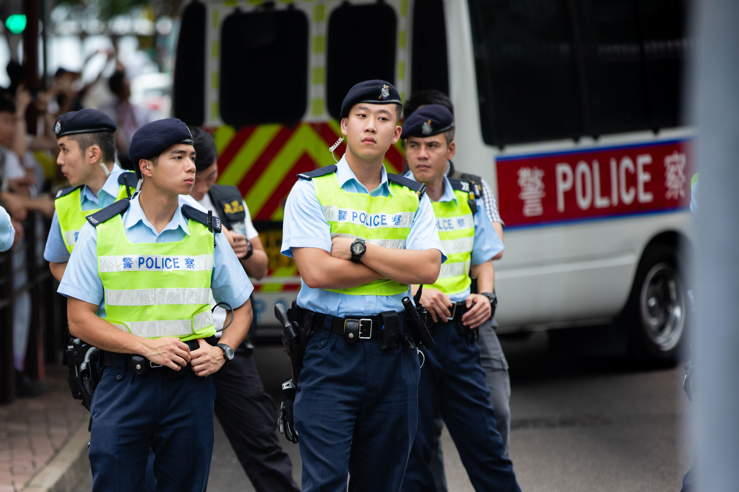 Hong Kong police officers have been jeered and criticized by protesters. (Saša Petricic/CBC)