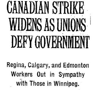Sympathy strikes broke out across Canada after the labour leaders were arrested in Winnipeg. (Library and Archives Canada)