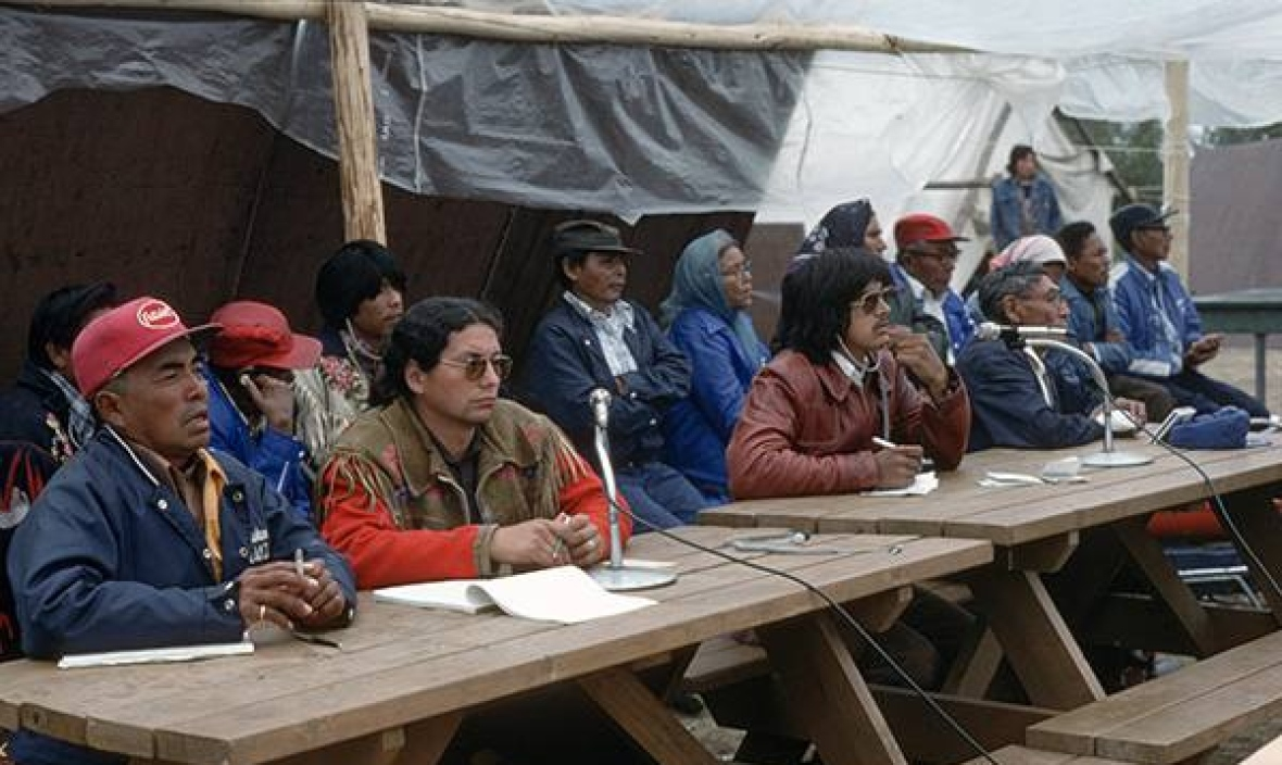 Chiefs at the 1978 assembly of the Dene Nation. The Dene Nation was formed after a 1969 reading of Treaty 11 that was the first time many chiefs heard the government's text of the agreement they signed in 1921. (Fumoleau/NWT Archives/N-1995-002-1590)