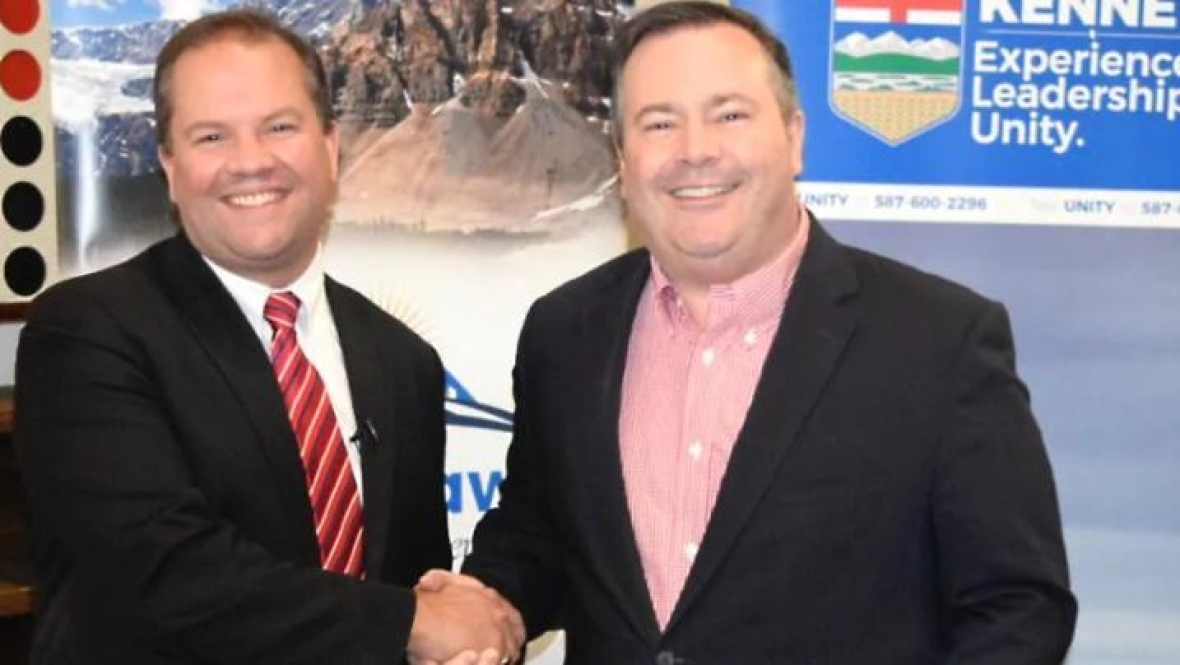 Jeff Callaway, left, and Jason Kenney. Callaway ran a kamikaze campaign in collaboration with Kenney to attack Brian Jean during the leadership race. (Jason Kenney campaign)
