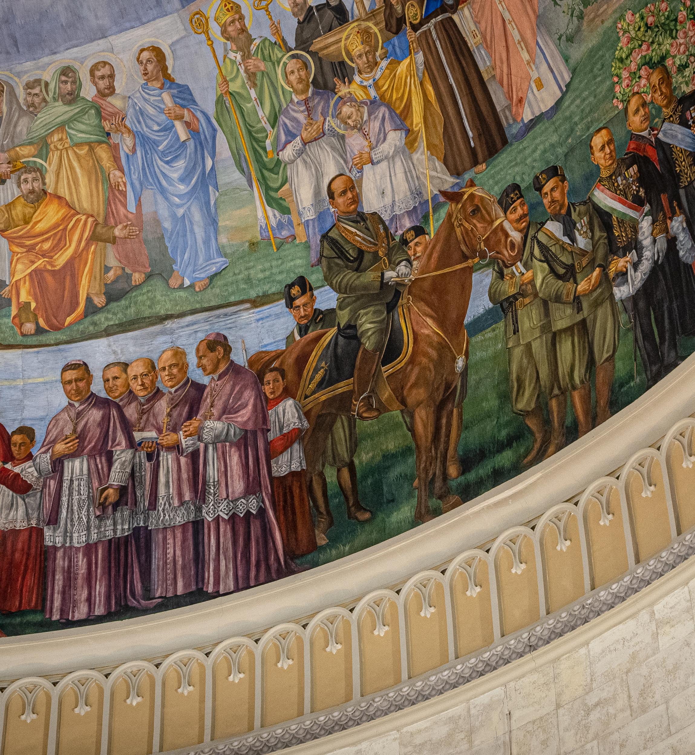 The fresco of former Italian dictator Benito Mussolini, on horseback, by artist Guido Nincheri in Montreal's Église Notre-Dame-de-la-Défense. (Jean-Francois Benoit/CBC)