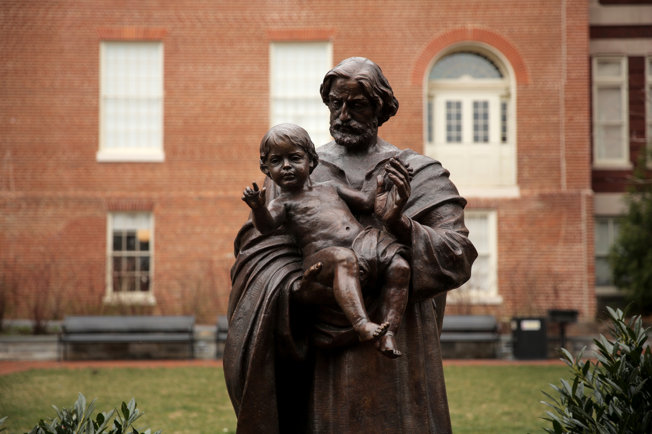 This Jesuit statue stands near Isaac Hawkins Hall. (Jason Burles/CBC)