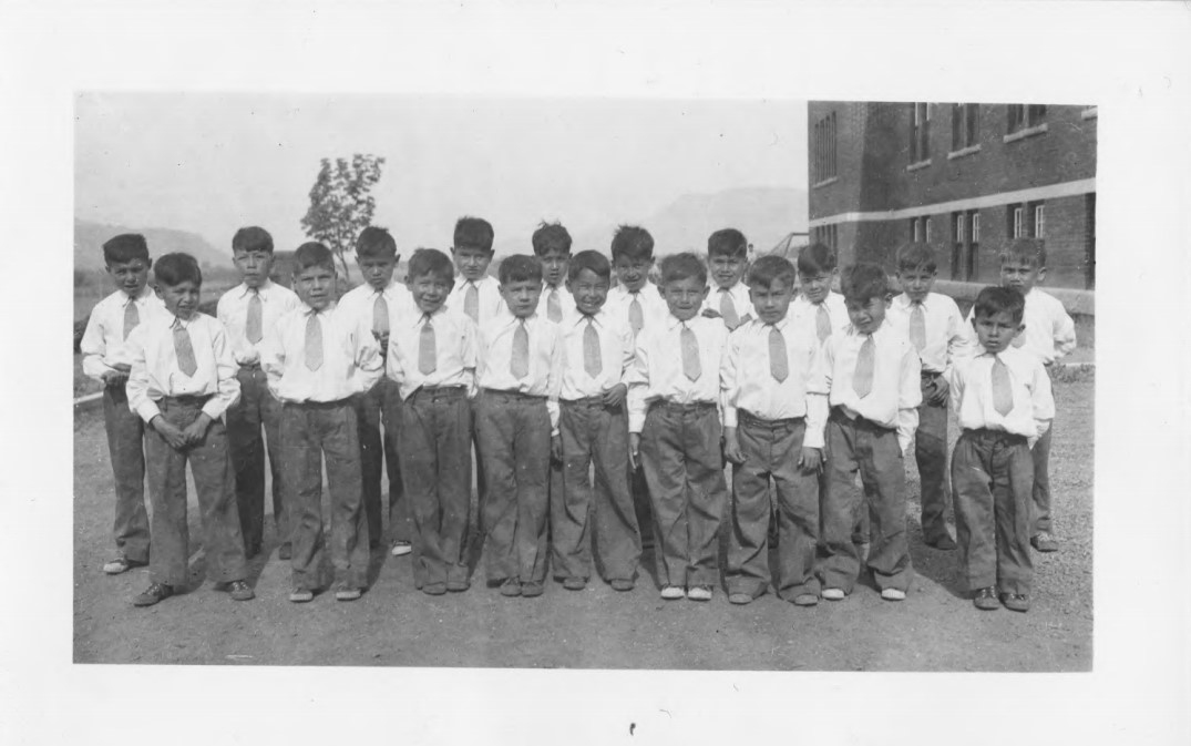 Male students at Kamloops residential school in 1944. (National Centre for Truth and Reconciliation)