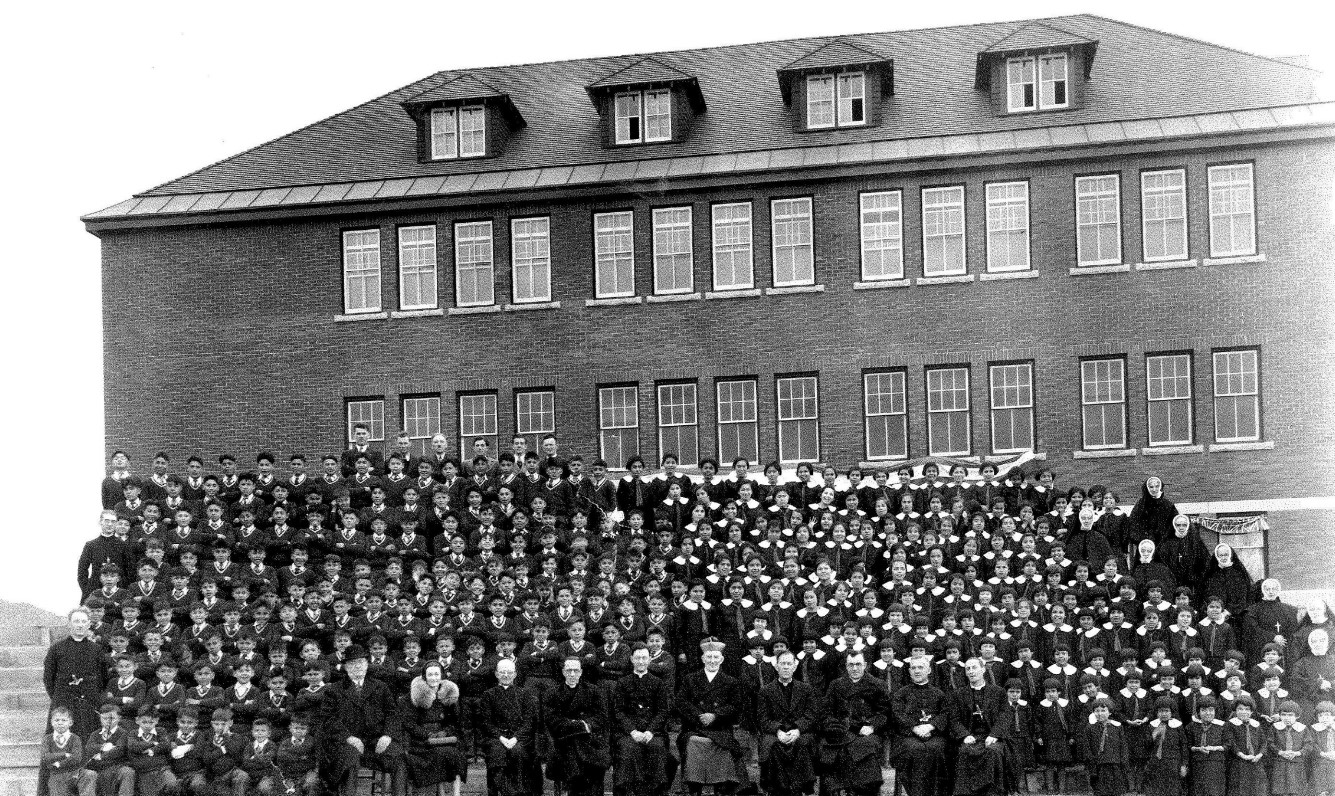 A photo from April 4, 1937, of students, administration and teaching staff at Kamloops residential school. The photo is from the Quebec archives of the Oblates of Mary Immaculate. (National Centre for Truth and Reconciliation)