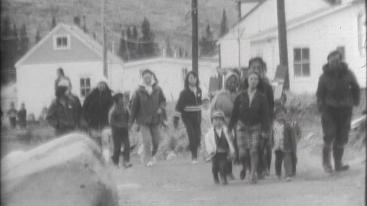 In this archival footage, children are walked to residential school. The schools were opened across Canada in the 1800s, with the last one closing in 1996. (CBC Archives)