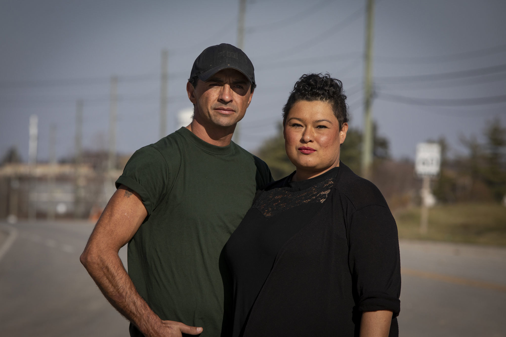 Skyler and Kahsenniyo Williams, photographed at the intersection of Argyle Street South and 6th Line. (Evan Mitsui/CBC)