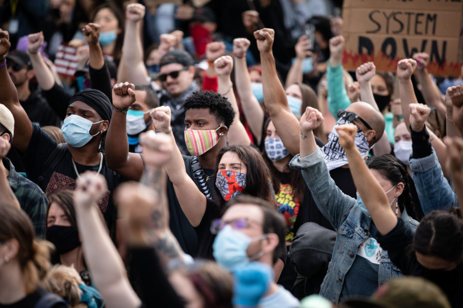 People gather to protest racism, injustice, and police brutality in Vancouver on Friday, June 5, 2020. (Maggie MacPherson/CBC)