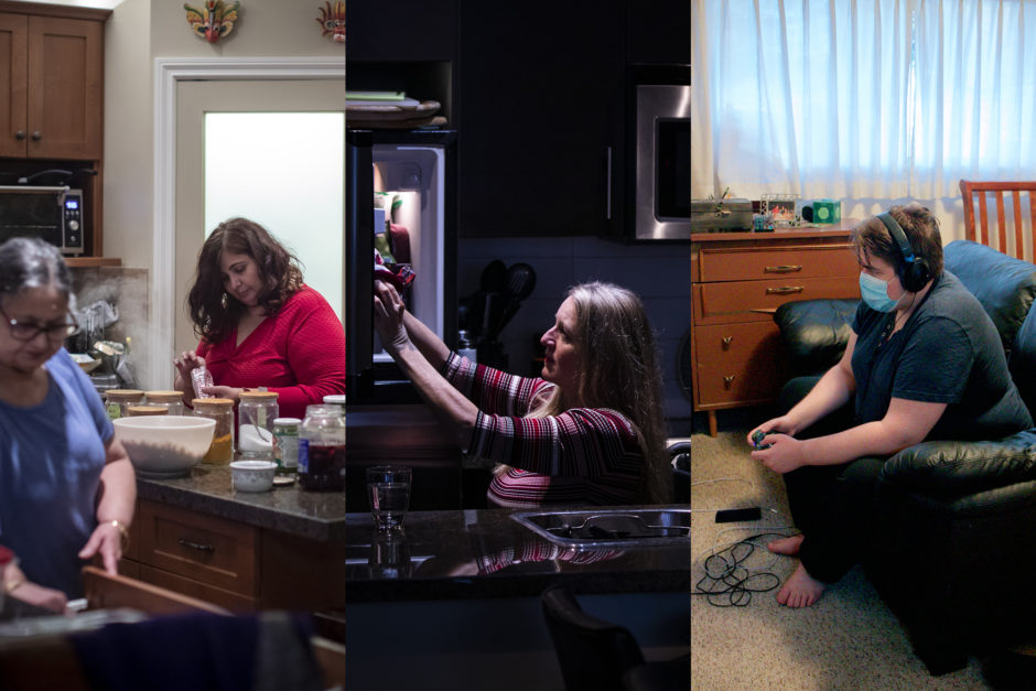 Composite image that shows three living arrangements in British Columbia: a multi-generational family in Surrey, a woman living alone in a Burnaby condo, and a mother and son sharing a one-bedroom apartment in Victoria.