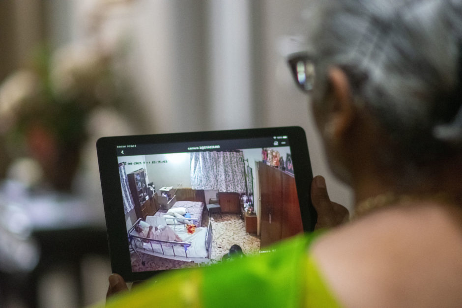 Lalitha Ananth in Grismby, Ont., checks on her 88-year-old mother, who lives in India, via an iPad.