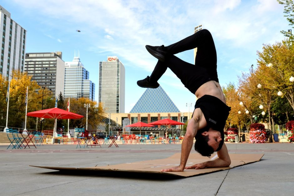 Diego Ramalho breakdances in Churchill Square
