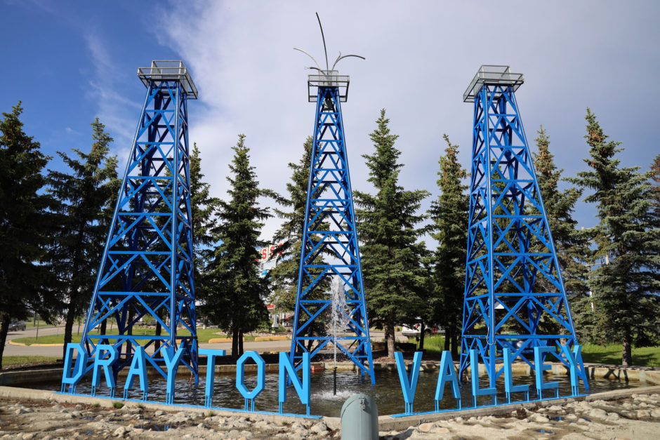 The Drayton Valley sign greets people as they drive into town.