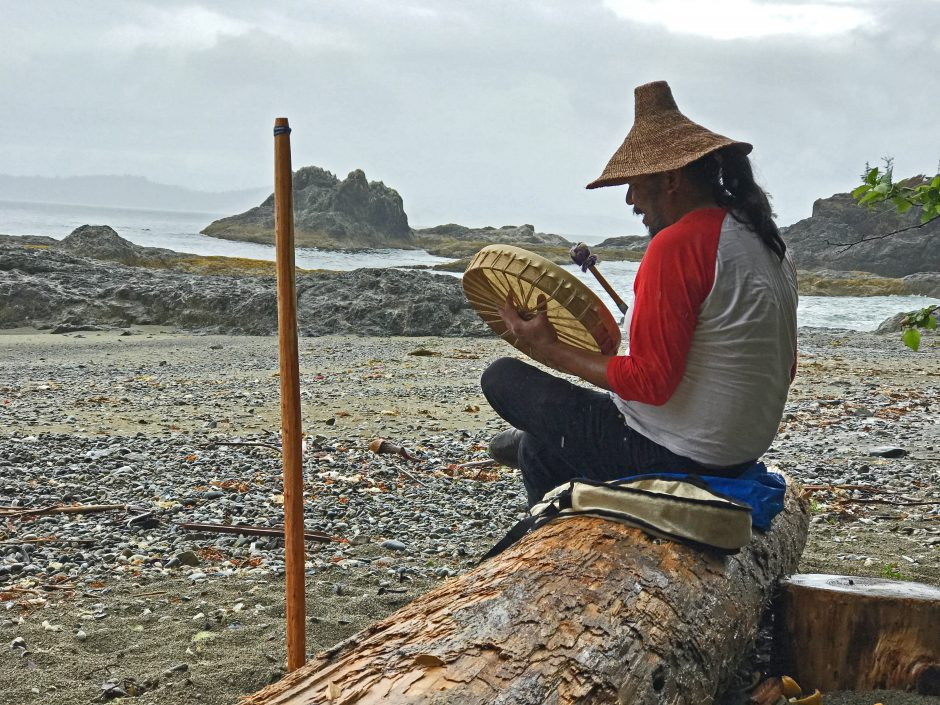 Wisqii (Robert Dennis Jr.) says tours of the Kiix̣in ancient village site are helping to revive the Huu-ay-aht tradition of storytelling. (Megan Thomas/CBC)