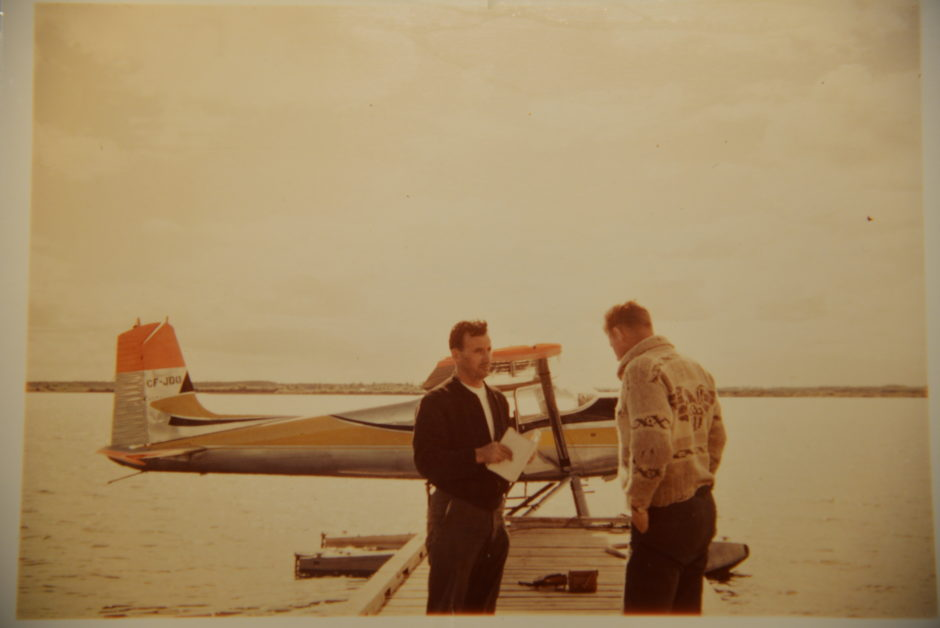 Pilot Ray Gran stands by the Cessna 180 with his brother Maurice Gran. Photo taken Aug. 10, 1959, 10 days before the crash. (Submitted by Donald Kapusta)