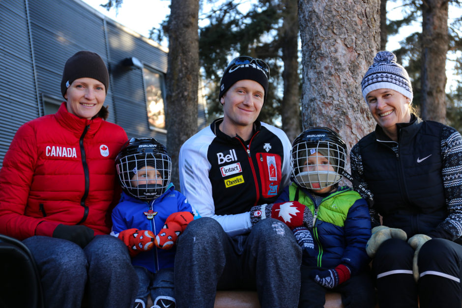 Olympians Jamie and Danielle Gregg with two of their young children.