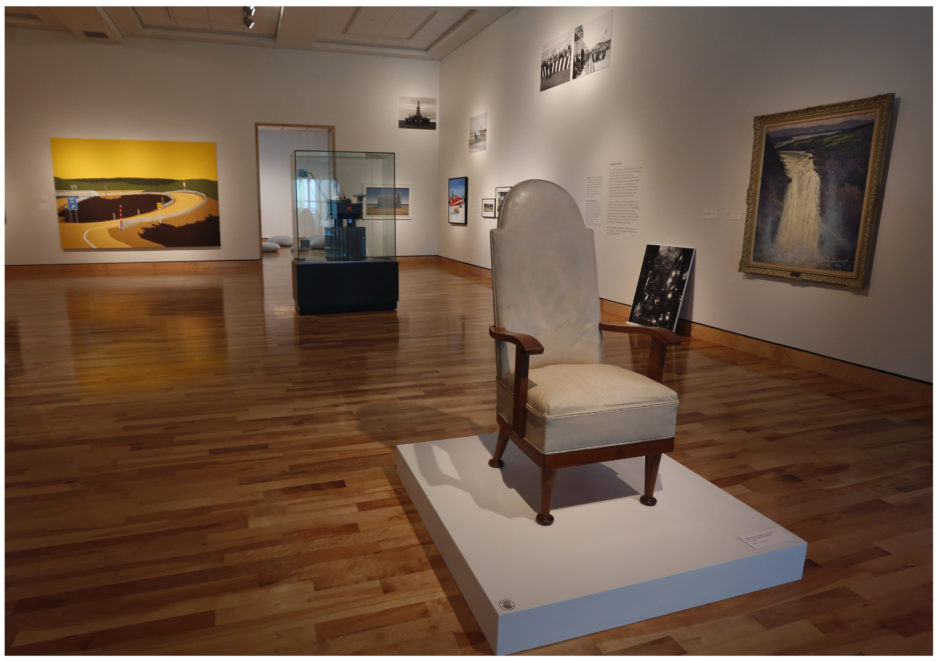 "Joey Smallwood's cabinet chair. The ""seat of power"" sets the tone for a landmark exhibit at The Rooms this summer. Photo by Paul Daly."